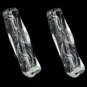 Beads, Glass, Colourless , Irregular cylindrical, 40mm x 10mm, 1 Bead, [YZA0012]